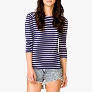 Forever 21 Navy Stripe Long Sleeve Top